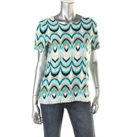 JM Collection Womens Petites Jacquard Printed Pullover Top