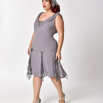 Unique Vintage Plus Size 1920s Style Grey Hemingway Flapper Dress