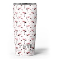 The All Over Pink Flamingo Pattern - Skin Decal Vinyl Wrap Kit compatible with the Yeti Rambler Cooler Tumbler Cups