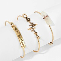 Arrow & Stone Bangle Bracelet 3pcs