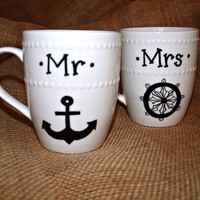 Mr and Mrs Anchor and Wheel Couples Coffee Mug/ Cup Gift Set