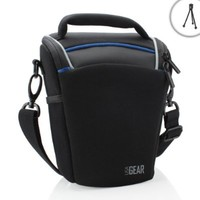 Weather Resistant SLR Camera Case Bag with Shoulder Sling by USA Gear - Works With Canon PowerShot G3 X , SX410 IS , SX530 HS , EOS Rebel T6s and More