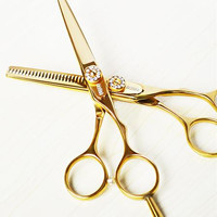 professional titanium 6.0 & 5.5 inch thinning cutting hair scissors shears set styling tools hairdressing scissors Free Shiping
