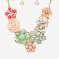 Garden Floral Cab Necklace