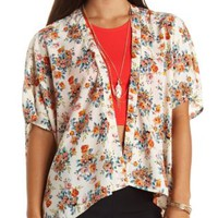 Floral Print High-Low Kimono Top by Charlotte Russe - Ivory Combo
