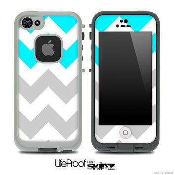 Medium Gray, Turquoise and White Chevron Pattern Skin for the iPhone 5 or 4/4s LifeProof Case