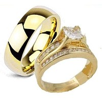 His & Hers 3 Piece Engagement Wedding Ring Set Yellow Gold Plated