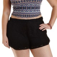 Plus Size Black Crochet Dolphin Shorts by Charlotte Russe