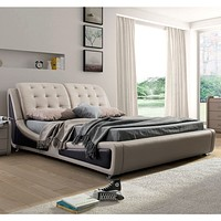 California King Size Light Brown Tan Faux Leather Upholstered Bed with Headboard