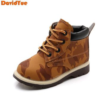 davidyue 2018  new arrival kids children martin army boots   girls boys boots baby winter flat shoes 3 color
