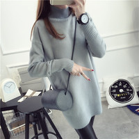 2016 new hot sale women's spring autumn long sleeve turtleneck knit casual sweater dresses woman loose pullovers sweater