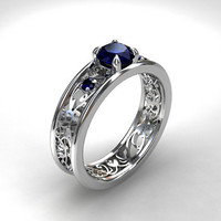 Blue sapphire ring filigree, engagement, lace, blue engagement, sapphire, wedding ring, sapphire wedding, anniversary