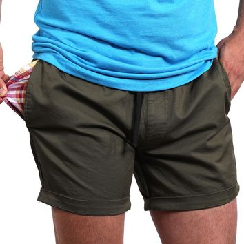 """The """"Paradise"""" Stretch Twill Short in Olive Green"""