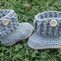 baby boy booties, baby boy clothes, crochet booties, baby boy boots, gray