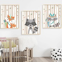 Cartoon Fox Raccoon Forest Canvas Painting Nordic Poster Wall Art Print Nursery Decoration Pictures Baby Girl Boy Room Decor