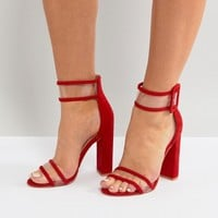 Public Desire Mission Red Clear Strap Block Heeled Sandals at asos.com