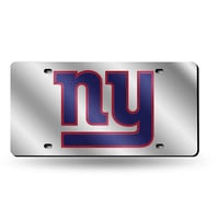 New York Giants NFL Laser Cut License Plate Cover Silver
