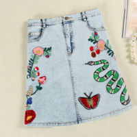 Gucci Fashion Sexy Rose Bee Snake Embroider  Show Thin Skirt