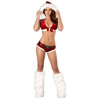 Sexy Four Piece Velvet Holiday Go Go Dancer Set