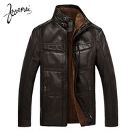 Men's PU Leather Fashion Velvet Warm Winter Motorcycle Business Casual Jacket
