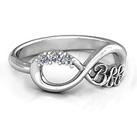 2 - 7 Stone BFF Friendship Infinity Ring