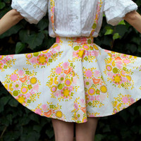 High waisted circle skirt suspenders vintage floral