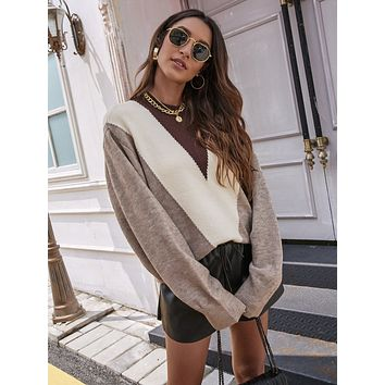 Color-block Oversized Sweater