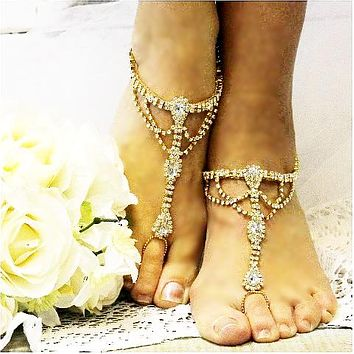 SOMETHING GOLD  wedding barefoot sandals