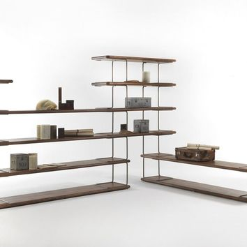 OPEN FREESTANDING DOUBLE-SIDED BOOKCASE TABULAR   BOOKCASE   RIVA 1920