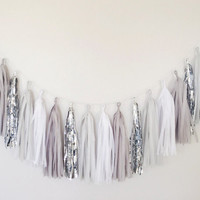 Shades of Grey and Silver Tassel Garland Decor - Party Decor,  Birthday Party, Gray Decor, Nursery Decor, Cakesmash, Baby Shower