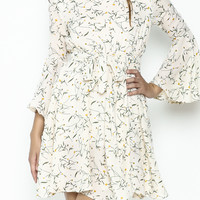 Bell Sleeves Printed short Dress