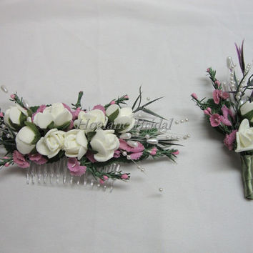 Boutonniere, Set of headcomb N boutonniere, Silk flowers headpiece/boutonniere