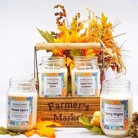 Farmer's Market Soy Candle Mason Jars Wooden Crate / Limited Edition