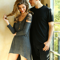 Charcoal Shredded Sleeves High Low Dress