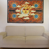 """Sun Moon Celestial Tapestry Wall Hanging 50""""x75"""" signed by Artist Dan Morris titled Heavenly"""