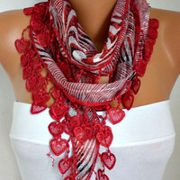 ON SALE - 50% OFF - Red  Scarf -  Heart Scarf - Multicolor Scarf Cowl Scarf  Shawl Scarf Cotton Scarf - fatwoman