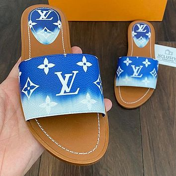 Hipgirls Louis Vuitton LV new ladies letter printed home casual slippers Shoes