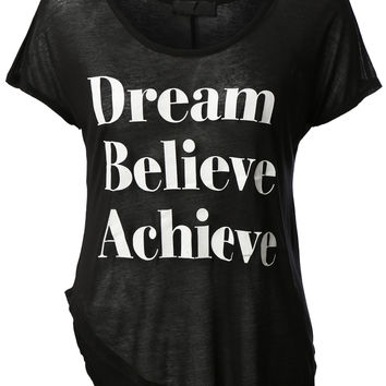 Womens Casual Short Sleeve Dream Believe Achieve Loose Tee