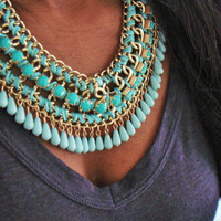 Gold Turquoise Necklace, Weave Multilayered Collar Necklace, Choker Chain Statement Necklace, Bib necklace