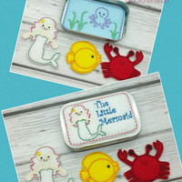 Mermaid tin play set, embroidered, travel toy, game, quiet toy, toy make believe, doll, storytime, story time, classic, paper doll