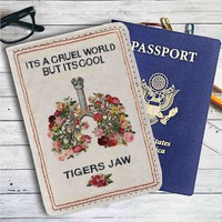 Tigers Jaw Flowers Leather Passport Wallet Case Cover