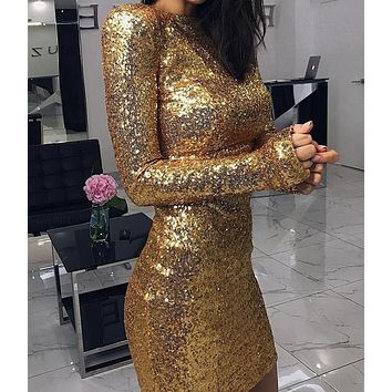 New fashion long-sleeved sexy bag hip skirt round neck sequin dress