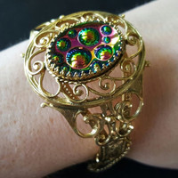 Stunning Iridescent Glow Cabochon Bracelet ** Signed Whiting & Davis ** 1950s Hollywood Regency Mad Men Mod ** 60s Retro Collectible Jewelry