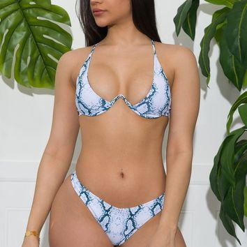 St Barts Two Piece Swimsuit White & Blue