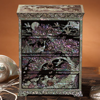 Mother of Pearl Inlay Art Crane Bird Tree Moon Lacquer Wooden Drawer Standing Jewelry Trinket Keepsake Treasure Box Case Chest