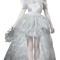 Women Vampire Zombie Dress Decadent Dark Ghost Bride Styling sexy Costumes Halloween costumes Cosplay for women (Color: White) = 1929363844