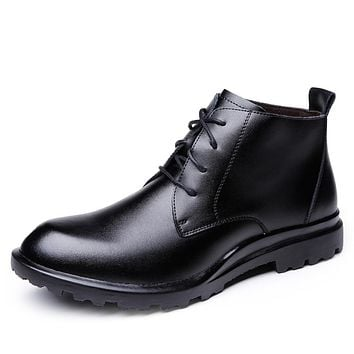 Men's Leather Shoes Leather Fall & Winter British Boots Wear Proof Booties / Ankle Boots Black / Brown / Office & Career