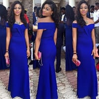 Off Shoulder Royal Blue Sheath Prom Dresses