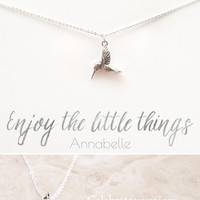 """""""Enjoy the Little Things"""" Delicate Hummingbird Silver Plated Necklace"""