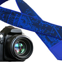 Microscheme Camera strap. Blue Camera Strap with Circuit board. Computer camera strap. For him by InTePro